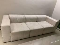 Sofá 3 Lugares Com Chaise E Encosto De Cabeça Retratil