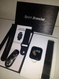 relógio smartwatch preto P70 2 Pulseiras