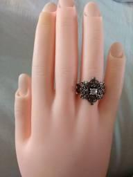 Anel prata 925 com pedra marcassita