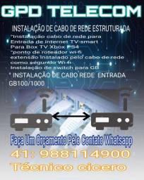 Instalação de cabo de rede instruturada