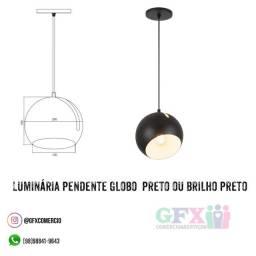 Luminária pendente globo preto ou brilho preto