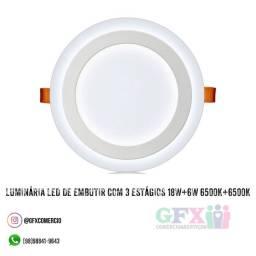 Luminária led de embutir com 3 estágios 18w+6w 6500k+6500k