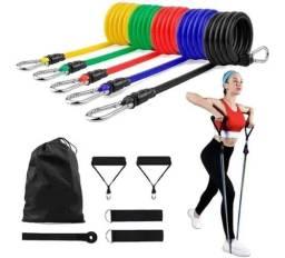 Elástico Extensor Fitness Academia em Casa | Kit com 11 Peças