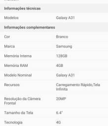 Samsung A 31 128gb sem carregador.