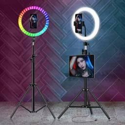 Anel de Iluminação Profissional Ring Light Multicolorido + Tripé 2,10m: