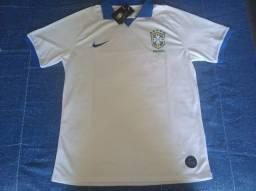 Camisa Seleção Brasileira Torcedor Nike Masculina Branca e Azul