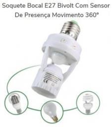 Soquete Bocal E27 Bivolt Com Sensor De Presença Movimento 360º