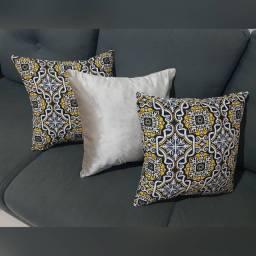 Almofadas em Veludo e Jacquard - Pérola / Estampada