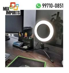 Iluminação Anel Luz Led Ring light 16cm + Suporte Tripé de mesa (Novo, aceito cartão)
