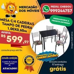 Mesa Com 4 Cadeiras Tampo De Pedra Em Super Promoção!!!