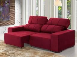Sofá Confort Retrátil e Reclinável Cor Vinho