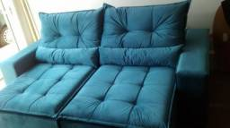 Sofá Santos Retrátil Reclinável Azul Turquesa
