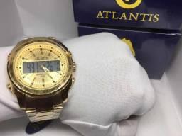 b1d6fb29f35 Relogio Gold Atlantis Original Dourado Com CAixa Novo