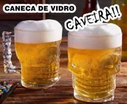 Caneca de Chopp Caveira de Vidro 510ml
