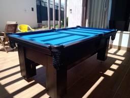 Mesa Charme Arredondada Semi Oficial Cor Marrom Tecido Azul Mod. UAKH7009
