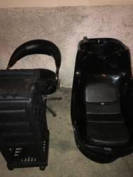 Kit cadeira, lavatório e carrinho de cabeleireiro