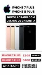Iphone 7 plus, Iphone 8 Plus Novo Lacrado com 1 ano de garantia!