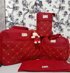 Kit de bolsa maternidade Vermelha Bordada