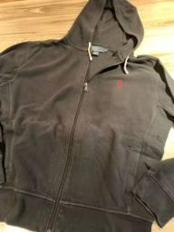 Jaqueta Polo Ralph Lauren com capuz, preta estonada, L