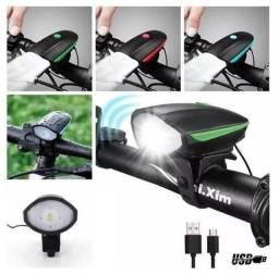 Farol Led Lanterna Bike buzina