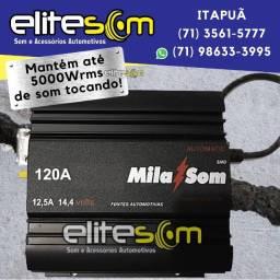 Fonte Automotiva Mila Som 120A Turbo Digital instalada na Elite Som