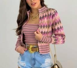 Cardigan + top tricô moda feminina
