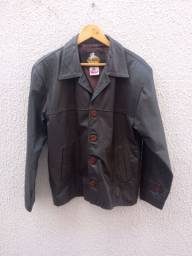 Jaqueta de couro marrom masculina Tam P