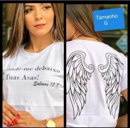 Camiseta evangelica modelo baby look tamanho G