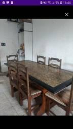 Mesa de marmore 6 cadeiras