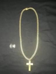 Cordao de moeda antiga + dois anéis soluar