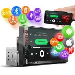 Central Multimídia 2 e 1 Din 7 Bluetooth Espelhamento Android Iphone MP5 Shutt