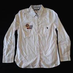 Camisa Social U.S. Polo Assn Anniversary 125th Bordada Branca Feminina Original Nova