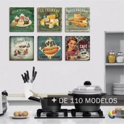 Placas Quadros Cozinha Café Retro Vintage Mdf