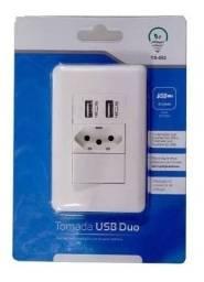 Tomada carregador usb de parede duo com interruptor - ys-002