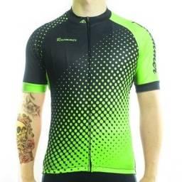 Camisa Verde e Preta Racmmer Altamente Respirável Para Ciclistas - Mais Qualidade