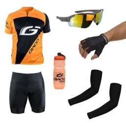 Kit conjunto ciclismo camisa, manguito, bermuda, óculos, luva, garrafa