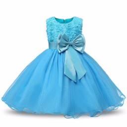 Azul Vestido de Festa Criança Princesa Aniversario Casamento Tamanho 12