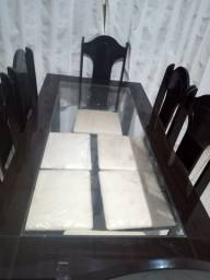Mesa tampo vidro 6 cadeiras