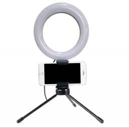 Iluminador Ring Light 6 Polegadas (10cm) com Tripe e Suporte para Celular