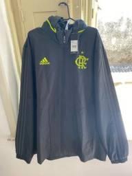 Título do anúncio: Jaqueta/Corta-Vento Flamengo Adidas Tam G - Chumbo - Novo Na Etiqueta