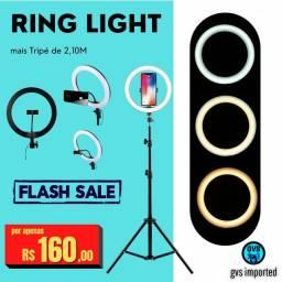 Iluminador Ring Light 26cm + Tripé de 2,10M