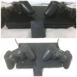 PlayStation 2 com dois controles mais memory Card de 8mb