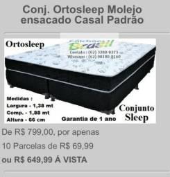 Conjunto Cama Box + Colchão de Molas Casal Padrão