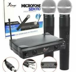 Microfone sem fio duplo vhf profissional de mao bastao knup.