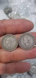 Duas moedas de prata de 1000Reis