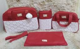 Kit de bolsa maternidade de corações bordados