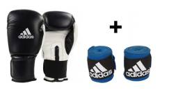 Kit Luva Boxe Muay Thai Adidas c/ bandagem preto TAM: 10 AO 16