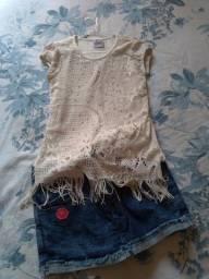 Título do anúncio: conjunto tamanho 6 - short saia e blusinha estilosa - praticamente novo