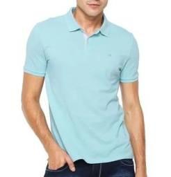 Camisa polo calvin klein strech verde água masculina