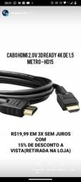 Cabo HDMI 2.0v 3D READY 4K 1,5 metros - HD15